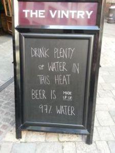 drink plenty of water beer 97 chalkboard